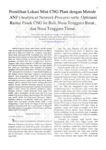 PEMILIHAN LOKASI MINI CNG PLANT DENGAN METODE ANP(ANALYTICAL NETWORK